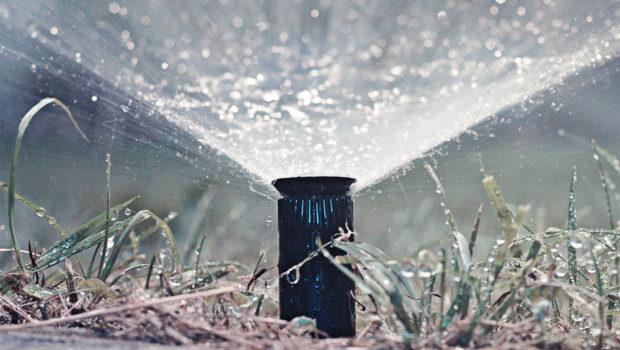 Dettaglio di un impianto di irrigazione in giardino
